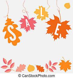 feuilles automne, vecteur, vente, pendre