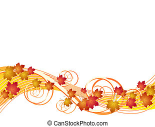 feuilles automne, voler, fond