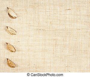 feuilles, baner, toile sac, decor.