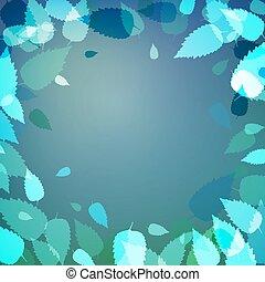 feuilles bleu, arrière-plan vert, frais