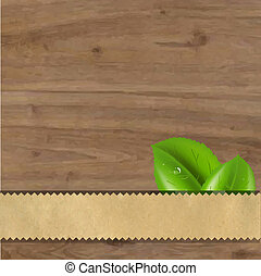 feuilles, bois, arrière-plan vert