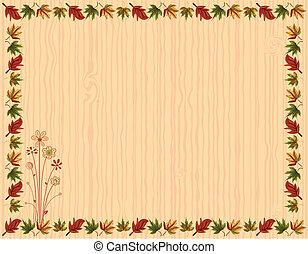 feuilles, carte, frontière, salutation, automne