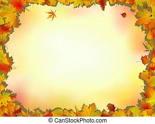 feuilles, chêne, cadre, érable