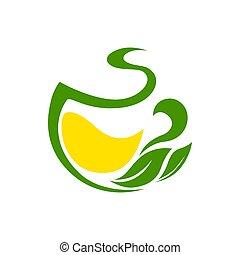 feuilles, citron, herbier, thé vert