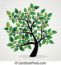 feuilles, concept, arbre