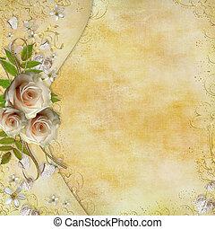 feuilles, doré, carte papier, roses, beau, salutation, cœurs, ruban