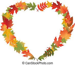 feuilles, formulaire, coeur, automne