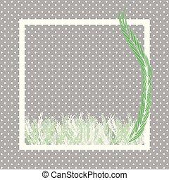 feuilles, fougère, blanc vert, cadre, point