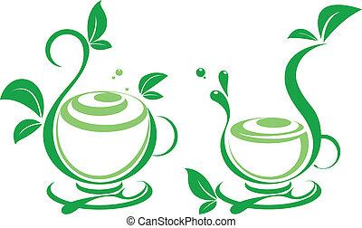 feuilles, frais, thé, vert