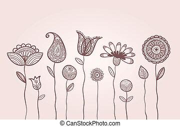 feuilles, griffonnage, motifs, pétales, fleurs, illustration