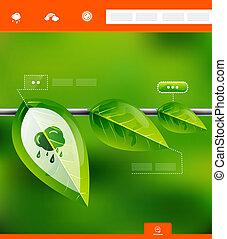 feuilles, infographic, bannière, nature