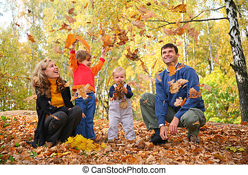 feuilles, jeter, famille, automnal