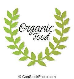 feuilles, nourriture organique, lettrage