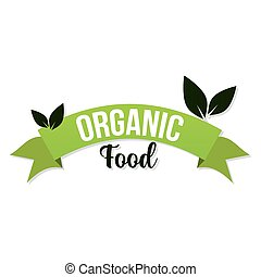 feuilles, organique, fond, blanc, lettrage, nourriture