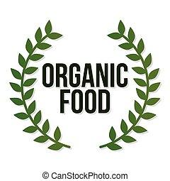 feuilles, organique, lettrage, côtés, nourriture