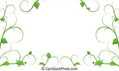feuilles, pattern., vert, croissant
