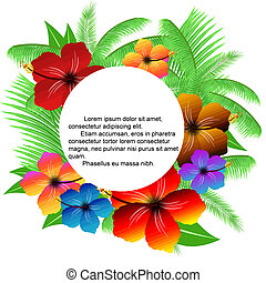 feuilles, paume, cadre, hibiscuses