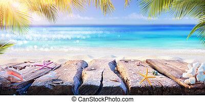 feuilles, paume, table, fond, -, océan, été, plage, brouillé