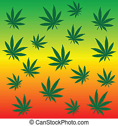 feuilles, rastafarian, fond, marijuana