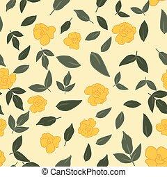 feuilles, roses, seamless, papier peint, vert jaune