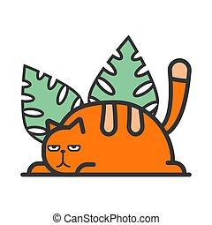 feuilles, rouge vert, illustration, chat