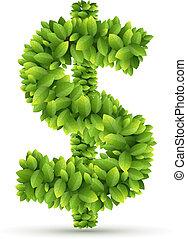 feuilles, vecteur, signe dollar, vert, alphabet