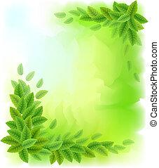 feuilles vertes, ensoleillé, fond
