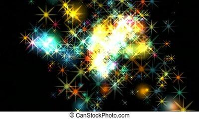 feux artifice, étoiles, tomber, éblouissant