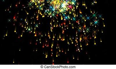 feux artifice, parti, éclat, étoiles chute