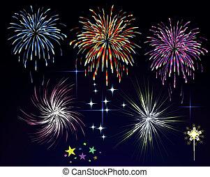 feux artifice, sky., vecteur, nuit, vacances, salut