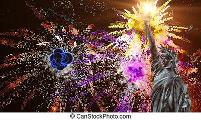feux artifice, statue, liberté