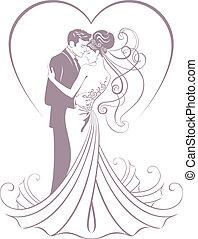fiancé, mariée