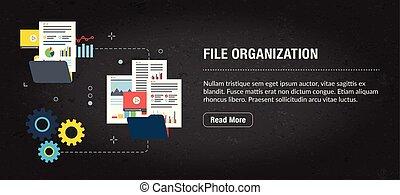 fichier, concept, bannière, organisation, internet.