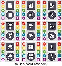 fichier, diagramme, ensemble, coloré, plat, texte, drapeau, sms, symbole., vecteur, boutons, apps, grand, dictionnaire, arc, cle, icône, nuage, ton, design.