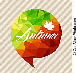 fichier, feuille, facile, coloré, bubble., média, sur, social, saison, automne, editing., vecteur, transparence, texte, triangle, eps10