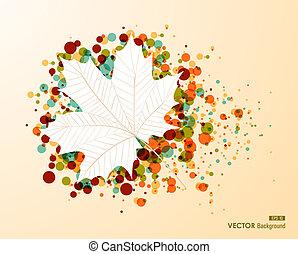 fichier, feuille, transparence, coloré, forme, automne, arrière-plan., editing., facile, eps10, bulles, transparent