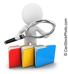 fichiers, blanc, 3d, examine, gens