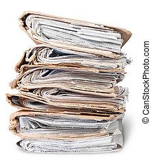 fichiers, chaotique, vieux, arrangé, pile