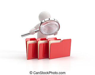 fichiers, examine, gens, -, petit, 3d