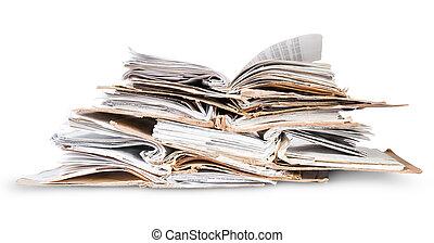 fichiers, ouvert, vieux, pile