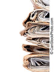 fichiers, vieux, chaotique, couvertures, arrangé, pile