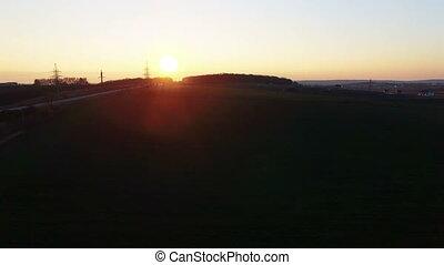 field., aérien, coucher soleil, vue