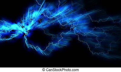 fields., crackling., arcs., résumé, réaliste, magnétique, fond, seamless, blue., looping., électricité, strikes., électrique, éclair