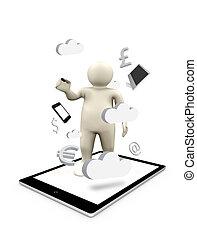 figure, affaires numériques, symboles, pc tablette