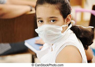 figure, against:, masque, virus, écolière, malade, épidémie, médecine, grippe, classe, peste