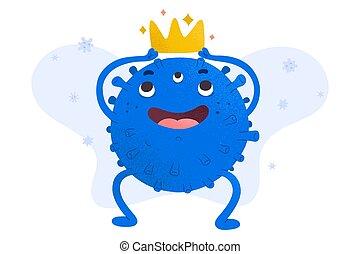 figure, cown, caractère, isolé, autoritaire, mortel, frais, porter, expression, desease, coronavirus, vecteur, virus, mignon, mascotte, germe, contagieux, illustration, griffonnage, heureux, symbole