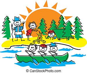 figure, crosse, camping famille