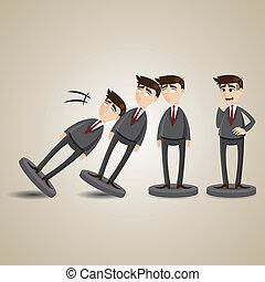 figure, domino, bas, automne, homme affaires, dessin animé