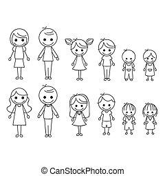 figure, famille, crosse