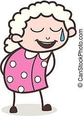 figure, grand-mère, vecteur, bouche, sueur, froid, ouvert, sourire, dessin animé